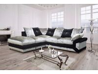 BLACK AND SILVER MIX- new Dino Crush Velvet corner Or 3 and 2 seater sofa -Left or Right Hand Side