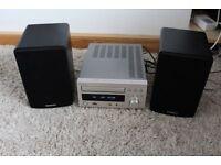 L@@K Denon RCD-M38 DAB FM, USB, CD Receiver Stereo Mini Hi-Fi System in Silver + BRENNAN BSP50