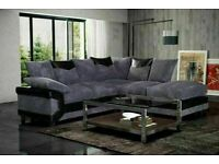 🟦✔️Super Sale🟦✔️DINO JUMBO CORD FABRIC CORNER SOFA SUITE / 3 & 2 SEATER in black and grey only