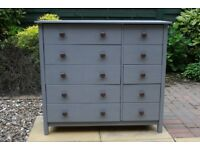 Pine Chest of 10 Drawers Painted Grey