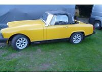 mg midget unfinished project needs new hood and some minor electrics