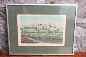 Vintage Framed Serigraph (Silk) Print Edmonton, Alberta, Canada. Limited Edition By George Weber