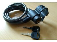 Bike multi stranded cable lock, fits on frame