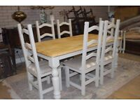 Shabby chic 6ft farmhouse oak table and six chairs
