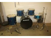 Ludwig Accent Blue Metallic 5 Piece Full Drum Kit (22 in Bass) All Hardware and Cymbal Set Included