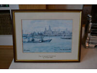 Liverpool Waterfront by Frank Green 1981 Framed Print (Taking Offers)