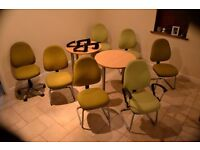 Reception furniture: 6 office chairs, matching secretary chair and 2 round 'meet and greet' tables.