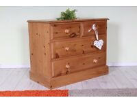 DELIVERY OPTIONS - QUALITY MADE PINE CHEST OF DRAWERS 2 OVER 2 WAXED DOVETAIL