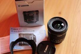 Canon EF-S 10-18mm f/4.5 5.6 IS STM Lens + Lens Hood + UV Filter - Mint Condition