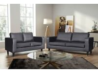 BRAND NEW HIGH QUALITY FAUX LEATHER 3 + 2 SEATER SOFA SETTEE IN BLACK AND BROWN COLOR SUITE