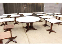 Joblot of Restaurant wood dining tables - padded tops for quieter fine dining.