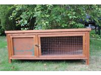 Small Outdoor Hutch - 120 cm length, 40cm deep, 53cm height (at front edge). Pick up only.