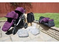 CITY SELECT BABY JOGGER IN AMETHYST (PURPLE) TWIN SEAT BUGGY,CARRYCOT,ACCESSORIES,INSTRUCTIONS,BOXES