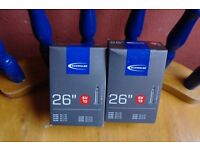 "Mountain Bike Inner Tubes Quality Schwalbe Tubes 26"" in Presta or Schrader Valve x 2 Can Deliver"