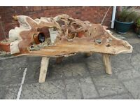 "beautiful teak root garden bench crafted by mother nature 3 seater 74"" wide"