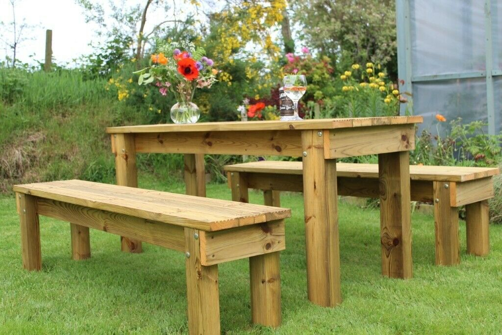 Handmade Picnic Table Benches High Quality Heavy Duty Garden
