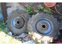 2 foam filled Volvo 621 tyres 16.9 / 14.30 8 stud