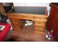 PINE WRITING TABLE WITH LEATHER TOP AND DRAWS