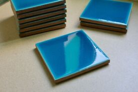Glazed Blue Ceramic Tiles (x17)