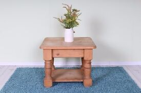 SOLID PINE COFFEE TABLE WAXED LIGHT COLOUR CHUNKY - FREE LOCAL DELIVERY