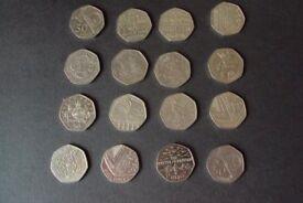 16 Mixed 50p Coins Scouts/Girls Brigade./War/Sports/B.Britten/Gib +