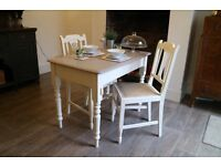 Shabby Chic Dining Table and 2 Chairs, Kitchen Table and Two Chairs