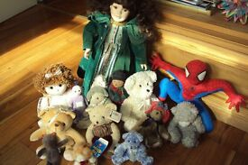 2 Collectable dolls & 25 Mixed Teddy Bears & Spiderman