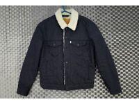 Levis Strauss Sherpa Coat Jacket Size Small Dark Blue Fur Lined Denim