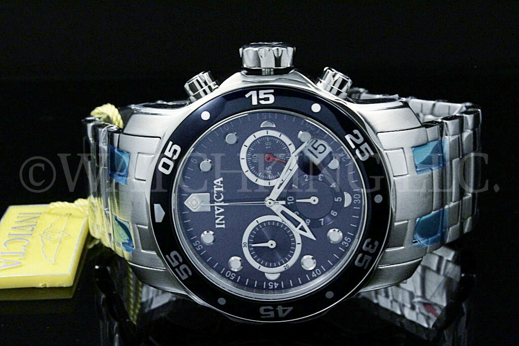 Invicta Men 48 MM Pro Diver Scuba Blue Dial Chronograph  S.S Bracelet Watch NEW