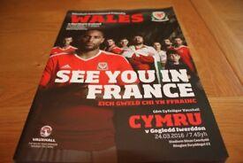 WALES V NORTHERN IRELAND OFFICIAL FOOTBALL INTERNATIONAL MATCH PROGRAMME 24.03.16