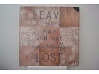 LARGE CANVAS PICTURE - NEW & SEALED - LEAVE THE MAP AND GET WONDERFULLY LOST - 90 x 90cm
