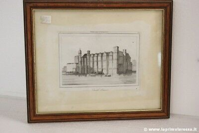 CASTELLO DI BAYNARD ANTICA INCISIONE CON CORNICE ANTIQUE PRINT OF BAYNARD CASTLE