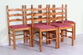 DELIVERY OPTIONS - SET OF 6 PINE CHAIRS STURDY SEATS NEED RECOVERING PROJECT
