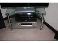 Corner chrome/glass tv stand.