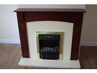 MAHOGANY FIRE SURROUND & ELECTRIC FOCAL POINT FIRE