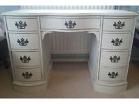 Cream vintage desk with lots of storage space