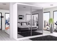 BLACK WALNUT AND WHITE! BRAND NEW BERLIN 2 DOOR SLIDING WARDROBE WITH FULL MIRROR-EXPRESS DELIVERY