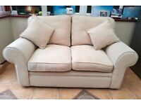 Fabric Comfy 2 Seater Cream Beige Sofa 160cm with Free Cushions