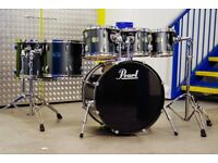 Pearl Export Gun Metal Drum Kit - 8, 10, 12, 14, 16 & 22 - Remo Heads - Tama - Yamaha - Pearl