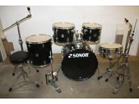 Sonor Force 507 Black 5 Piece Full Drum Kit (22in Bass) + Stands + Stool + Cymbals