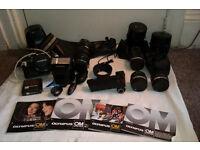 OLYMPUS OM-10 Bundle Professional Camera Winder Lenses Leather Bag Flash