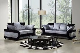 😃 😄ARABIAN DESIGN😃 😄Dino Crush Velvet 3+2/CORNER SOFA in Black n silver.............. ORDER NOW