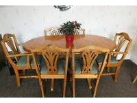 Pine Extending Table and 6 Upholstered Chairs including 2 Carver Chairs