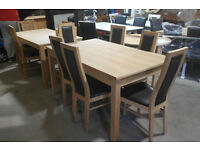 Dining table ( extendable) and 6 wood and leather chairs!!!!!!!!!!!!!