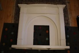 Marble effect Electric Fire Place with stones and flame effect (cream marble composite)