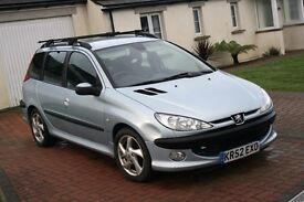 PEUGEOT 206 SW. SMALL FAMILY ESTATE. 2.0 LT DIESEL, ONLY 93K. NOV 17 MOT.