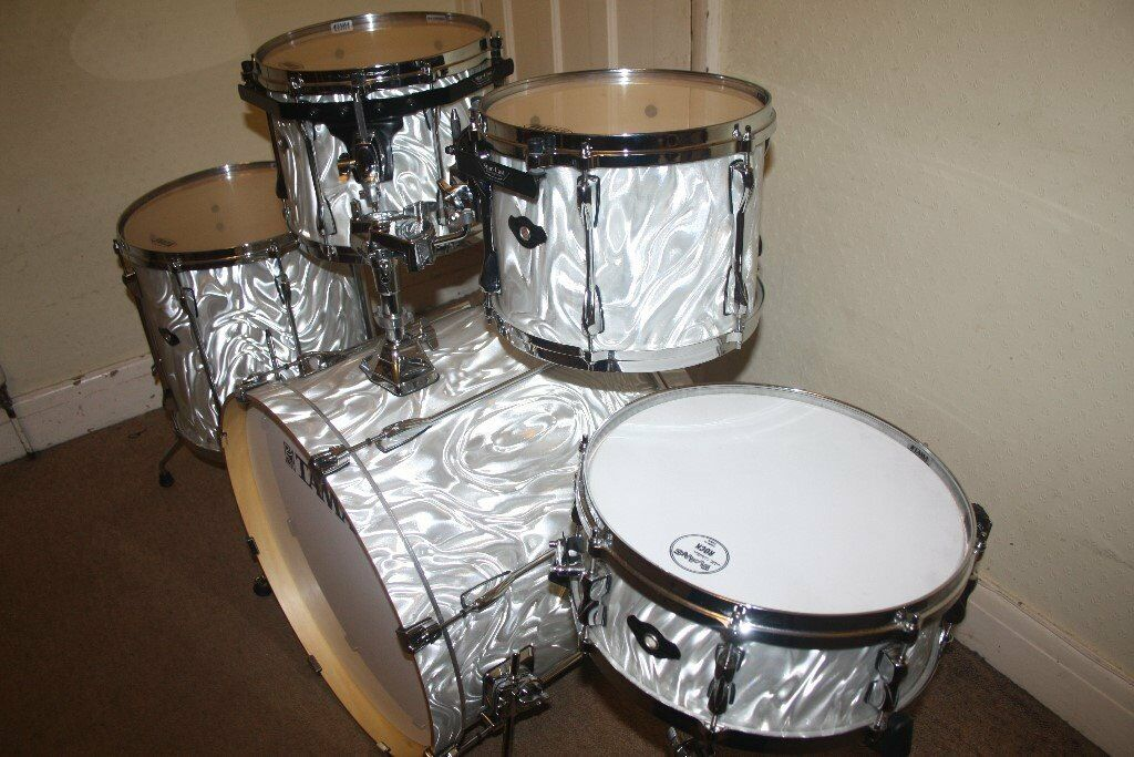 Tama superstar hyper drive white satin haze 5 piece drum for 13 inch floor tom