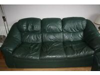 Leather 3 seater, 2seater sofas and matching swivel recliner Good used condition Bottle Green