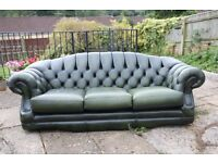 Really nice leather 3 seat Chesterfield sofa, local delivery possible.
