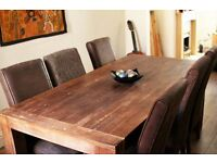 Excellent Condition Hardwood Table and Chairs with 'Distressed Finish'.